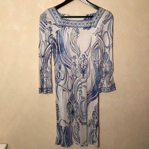 Emilio Pucci White and Blue Silky 3/4 Sleeve Dress